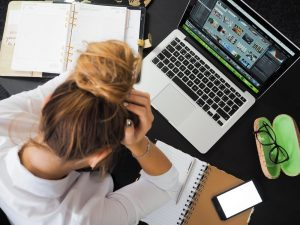 Woman not feeling well while in the office