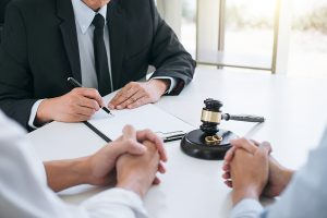 Lawyer giving advice in a Sydney couple